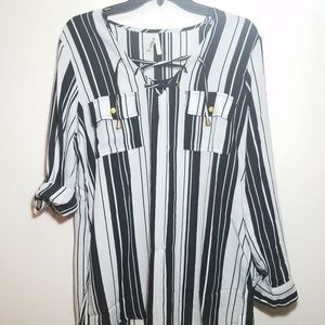 Black and white stripe lace up tunic blouse